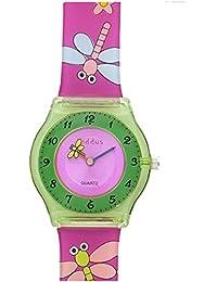 Reloj niña chica infantil, de aprendizaje educativo analógico de cuarzo MARIPOSA FLOR en caja de regalo, Resistente al agua, Mecanismo Seiko, Batería Sony, Rosa y verde, Kiddus modelo 5