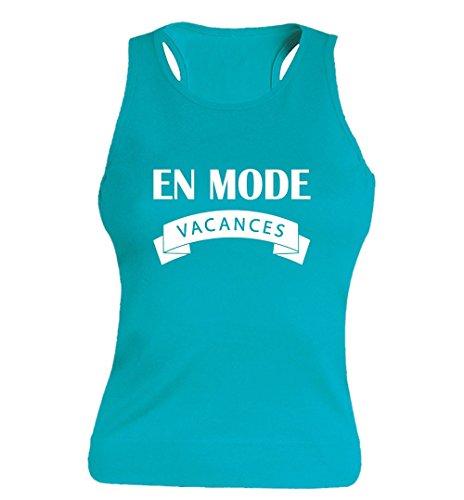 """T-shirt Blanc Femme 100% Coton - """"En mode vacances"""" - Sans Manches Bleu"""