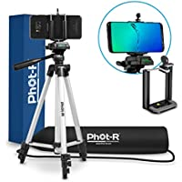 """Phot-R Professional 127cm (50"""") 4-Section Universal Aluminium Photo Video Tripod Stand with 3-Way 360° Swivel Panhead for Smartphone Mobiles"""