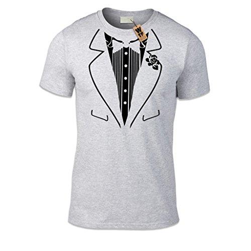 WTF-Aufdruck/Tuxedo Kostüm-T-shirt, lässiger Sitz, verschiedene Farben und Größen Gr. XX-Large, Grau - (Kostüme Wtf)