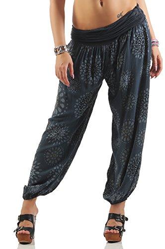 ZARMEXX Damen Pumphose Pluderhose Harem-Stil Sommerhose all over Print Freizeithose Aladinhose Hose One Size (Einheitsgröße: Gr. 36-42, dunkelgrau)