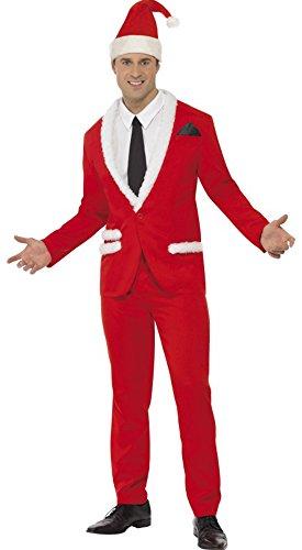 Jacke Gru Kostüm - Faschingsfete Herren Weihnachtsmann Anzug Smoking Mütze Bommel Jacket, M, Rot