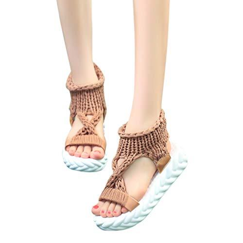 Kostüm Cleopatra Schuhe - Deloito 2019 Sommer Damen Mode Plateau Schuhe Gestrickte Sandaletten Plattform Komfort Sandalen Freizeit Faule Schuhe Schwamm Kuchen kühl Sandalen (Braun-A,37 EU)
