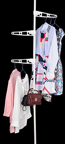 Preisvergleich Produktbild Kleiderständer Kleiderstange Teleskop Regal Garderobenständer Wäscheständer Spannstange höhenverstellbar von 160 bis 290 cm, Weiß, BZ4119