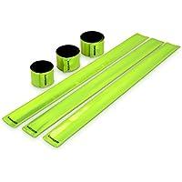 kwmobile 6X Reflektorband Neon Gelb - Reflektierendes Band Schnapparmband Set - Reflektor Sicherheitsband EN13356 für Kinder Arm Bein Joggen