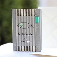 10 personalisierte Einladungskarten Einladung zur Kommunion Konfirmation Firmung Taufe Streifen grau mint Handarbeit binnbonn