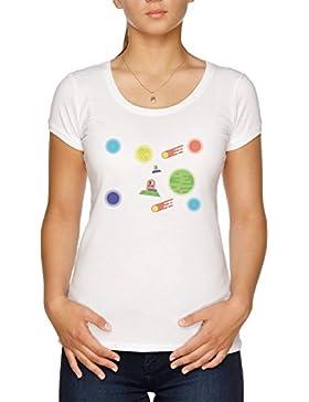 Vendax Dibujos Animados Creativo Espacio Camiseta Mujer Blanco