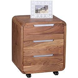 Wohnling de madera de acacia de madera maciza y cajonera con ruedas para escritorio con 3 cajones
