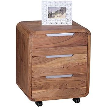 wohnling rollcontainer akazie massivholz design schubladenschrank f r schreibtisch natur holz 3. Black Bedroom Furniture Sets. Home Design Ideas