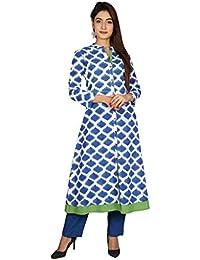 Missprint Blue Hand Block Printed Indo Western Kurta With Pants