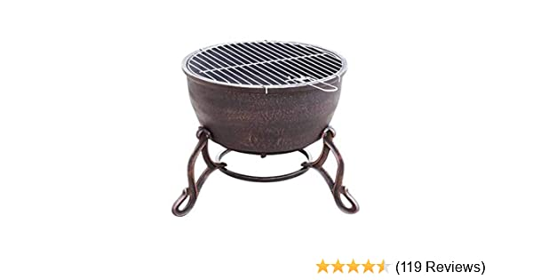 Gardeco Black Meridir Extra Large Cast Iron Fire Bowl with BBQ Grill 19KG