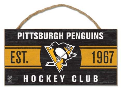 Wincraft NHL Pittsburgh Penguins Zum Aufhängen Holz Schild mit Seil, 12,7x 25,4cm - Pittsburgh Penguins-flag