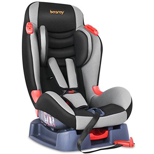 Besrey® Autokindersitz Autositz Kindersitz Kinderautositz Babysitz 9-25 kg 1+2 nach ECE R44/04 - Schwarz & Grau