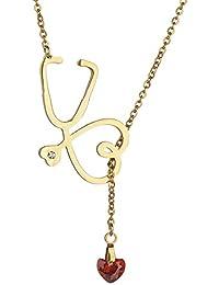 8c823385219f Doctor enfermera estetoscopio collar corazón Clavicle cadena acero titanio  estetoscopio rojo Rhinestone