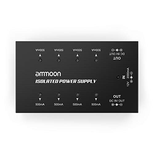 ammoon Guitar Effect Power Supply Compact Size Guitar Effect Power Supply 8 Isolated DC Outputs for 9V/18V Guitar Effects