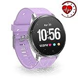 YoYoFit Egde Plus Pulsera de Actividad Inteligente, podómetro con Pulsómetros, Impermeable IP67 Reloj Inteligente para Mujeres, Hombres, niños, Morado