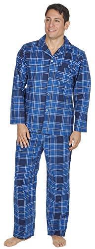 Baumwolle Pyjama-böden (Herren gebürstet Pure 100% Baumwollschlafanzug Winter warme Flanell Thermo M L XL XXL Blau Kariert, M)