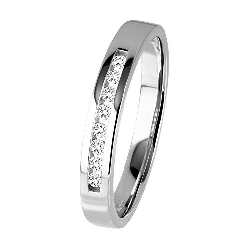 Diamond Line Diamant-Ring Damen 585 Weißgold mit 8 Diamanten 0.10ct. Lupenrein