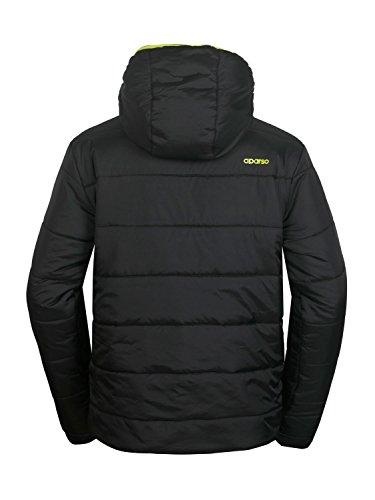 aparso Herren Steppjacke Übergangsjacke mit Kapuze leicht warm wattiert Schwarz/Lime