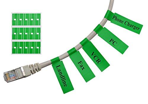 Mr-Label (20 hojas, 600 etiquetas) Autoadhesivo Etiqueta del cable - a prueba de agua | Resistente a la rotura | Durable - con la Herramienta de impresión en línea gratuito (Verde)