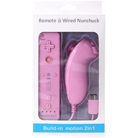 Wired Nunchuck y mando a distancia con Motion Plus para Nintendo Wii con el paquete al por menor (rosa