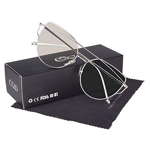 CGID Mode Polarisierte Katzenaugen Sonnenbrille For Damen UV400 reflektierenden Spiegel,Silber Transparent