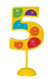 Unique Party- Decoración de tarta intermitente número 5, Multicolor (37035)