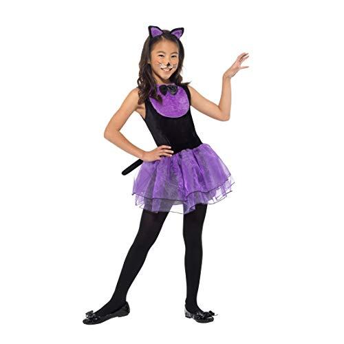 NET TOYS Süßes Kinder-Kostüm Katze | Schwarz-Violett in Größe M, 7 - 9 Jahre, 130 - 143 cm | Niedliche Mädchen-Verkleidung Kätzchen geeignet für Kostümfest & Kinder-Fasching (Schwarze Kätzchen Kostüm)