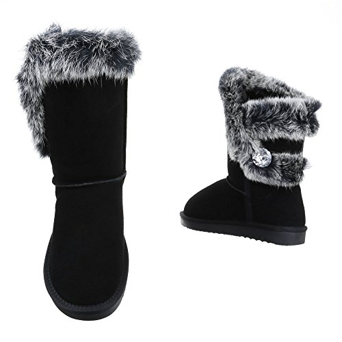 Ital-Design Komfortstiefel Damen Leder Schuhe Klassischer Stiefel Warm Gefütterte Stiefel Schwarz