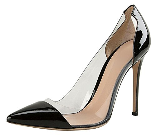 uBeauty - Scarpe da Donna - Scarpe col Tacco - Classiche Scarpe col Tacco - Trasparente Scarpe col Tacco Nero 37 EU