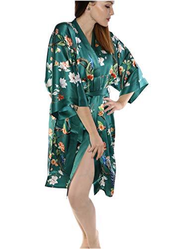 Prettystern Abito da Donna in Kimono di Seta Lungo al Ginocchio Abito Avvolgente Giardino Pavone Verde Scuro K08