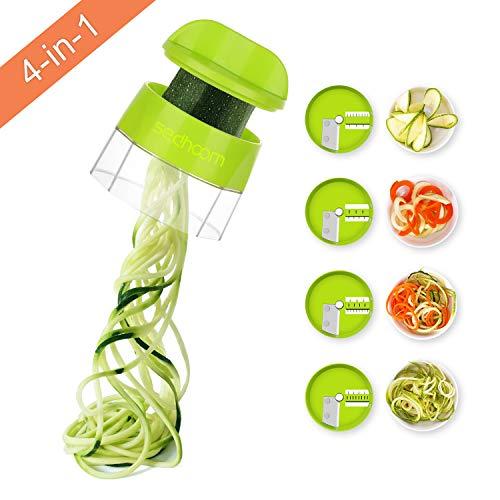 Sedhoom Cortador de Verdura 4 en 1 Rallador de Verduras Calabacin Pasta Espiralizador Vegetal Veggetti...