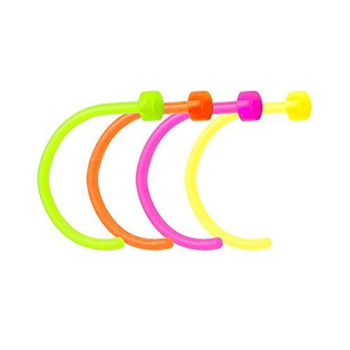 Bioflex Nose Piercing Hoops - UV Glow Flexible Nose Hoops - 18ga-5/16(8 mm) by BodyJewelryOnline