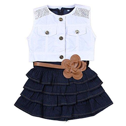 Amlaiworld Babykleidung, Heißer Kinder Mädchen Sommer Modelle Mädchen Weste Jeans Kleid + Jacke 2pc Anzüge (90)