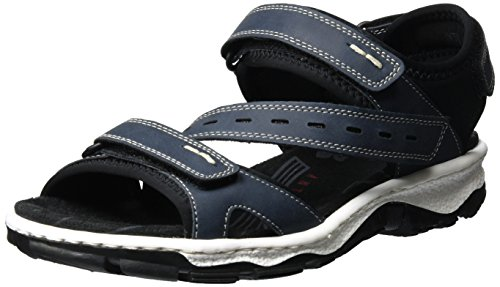 Rieker Damen 68868 Offene Sandalen mit Keilabsatz, Blau (Denim/Schwarz / 14), 37 EU (Sandalen Denim Blau)