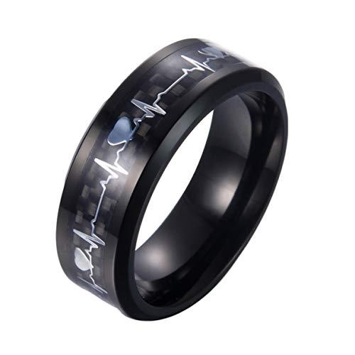 Bernard Liebespaare Heartbeat Ring Paar Ringe Titan Steel Ring Verlobung Ehering Seine und Ihre Versprechungsringe Liebe Token Männer und Frauen(None 7 Black 7.) (Ehering Plata)