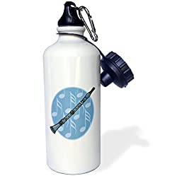 3dRose wb_150112_1 Clarinet Music Note Musical Instrument Sports Water Bottle, 21 oz, White