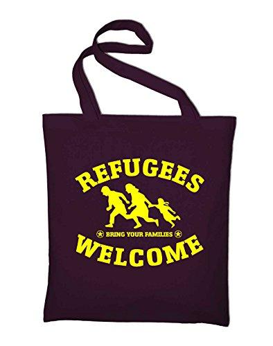 Refugees Welcome Logo Jutebeutel, Beutel, Stoffbeutel, Baumwolltasche, schwarz Bordeaux