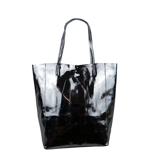 FreyFashion - Made in Italy, Borsa tote donna nero metallizzato