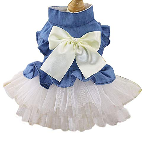 t Kleiner Hunderock-Mädchen-Ballettröckchen-Kleidungs-Welpen-Katzen-Ärmelloses Kleiderteddy-Geschirr-Kleider Für Frühling Und Sommer,White,L ()
