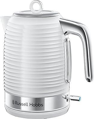 Russell Hobbs 24360 Bouilloire électrique Inspire, 3000 W, 1,7 litre, blanche avec garnitures chromées