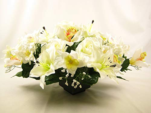 Gran boda centro de mesa flores artificiales con rosas y lirios de ...