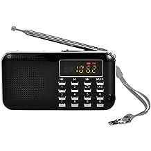 iMinker mini portátil de MP3 Radio AM / FM altavoz de medios digitales de la música del jugador de tarjeta del TF / Puerto USB con pantalla LED, la linterna de emergencia, de 3,5 mm para auriculares Jack (Negro)