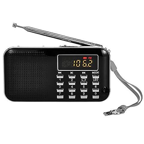 iMinker tragbare Mini-Digital-AM / FM-Radio-Mittel-Lautsprecher-MP3-Player-Unterstützungs-TF-Karte / USB-Anschluss mit LED-Screen-Display, Notfall-Taschenlampe, 3,5-mm-Kopfhörerbuchse
