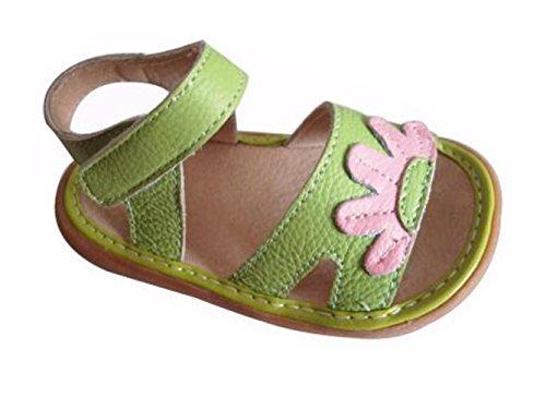 Ohmais Enfants Chaussure premier pas bébé sandale en cuir souple Vert
