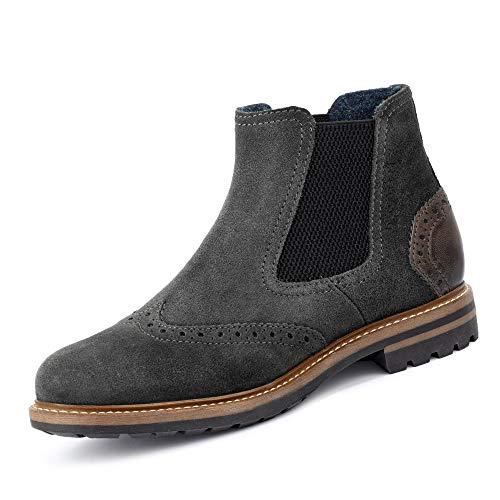 Bugatti 31181561 1400 Herren Chelsea Boots aus Veloursleder mit Textilfutter, Groesse 46, grau