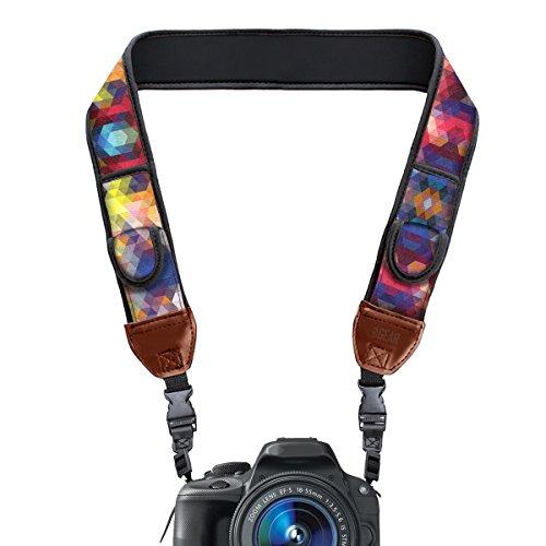 USA Gear Kameragurt für Spiegelreflexkameras: DSLR Schultergurt aus Neopren mit Zubehörtaschen und Quick-Release-Schnallen, geometrisches Muster -