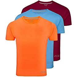 AWG Men's Dryfit Polyester Round Neck Half Sleeve T-shirts - Pack of 3 - AWGDFT-MA-SBU-OR-M