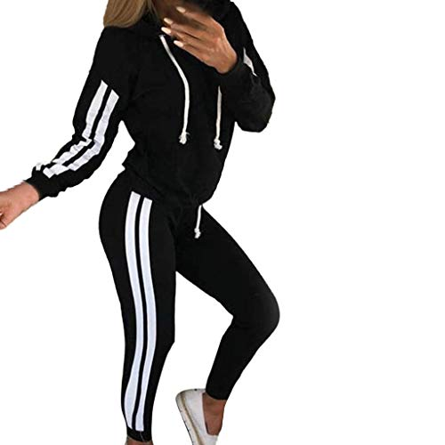 Damen Sportanzüge Jogging Anzug Trainingsanzug Mode Streifen Zipper Langarm Kapuzenpullover Hoodie Sweatshirt + Lange Hose Sportswear 2 Set (L, Schwarz B) -