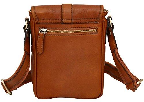 Mini borsa con tracolla unisex made in Italy - vera pelle - Marrone chiaro Marrone chiaro